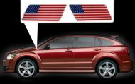for Dodge Caliber specific made fender American flags set Left-Right 3D Decals