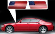 for Dodge Charger specific made fender American flags set Left-Right 3D Decals