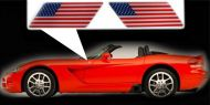 for Dodge Viper specific made fender American flags set Left-Right 3D Decals