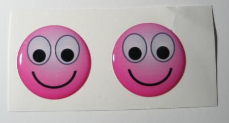 2x Smile pink emoticon 3D Decals