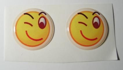 2x Wink emoticon 3D Decals