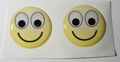 2x Smile yellow emoticon 3D Decals