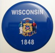 2inc WISCONSIN State flag America 3D Decal sticker USA
