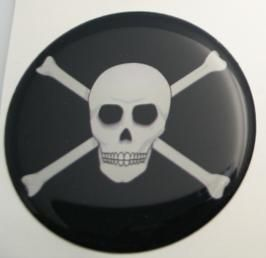 50mm scull and bones pirates flag 3D Decal