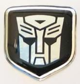 Dodge Charger 2006 -2010 - Steering Wheel Badge 3D Decal sticker Transformers Autobot Black/Chrome