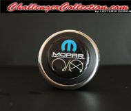 3D Decal cover for the Start/Stop Button - BLACK with blue M and white mopar logo   - For the 2008 and Up  Dodge Challenger