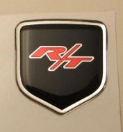 fits Dodge Avenger 2011 and Up - Steering Wheel Badge 3D Decal sticker R/T RED / BLACK / CHROME