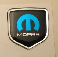 Steering Wheel 3D Decal badge – BLACK / CHROME / BLUE with M and mopar logo - For the 2011-2012 Dodge Challenger