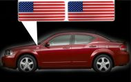 for Dodge Avenger specific made fender American flags set Left-Right 3D Decals