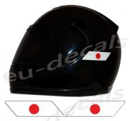 Helmet Japan Flags 3D Decals Set Left and Right