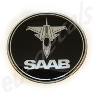 32mm/1.26inc JET SAAB BLACK Chrome badge 3D decal