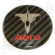 32mm/1.26inc Carbon Red Chrome SAAB JET Aero badge 3D decal