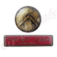 Spartan standard shield bronze 70mm and Red MOLON LABE