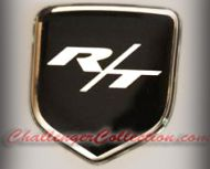 Nose 3D Decal badge – BLACK / CHROME with R/T - For the 2008 and Up  Dodge Challenger