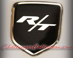 Steering Wheel 3D Decal badge – BLACK / CHROME with R/T - For the 2008-2010  Dodge Challenger