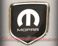 Steering Wheel 3D Decal badge – BLACK / CHROME with M and Mopar logo    - For the 2008-2010  Dodge Challenger