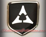 Steering Wheel 3D Decal badge - BLACK / CHROME with Fratzog, used 1962–1975 logo - For the 2011-2012 Dodge Challenger