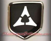 Steering Wheel 3D Decal badge - BLACK / CHROME with Fratzog, used 1962–1975 logo - For the 2008-2010  Dodge Challenger