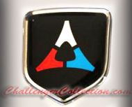 Steering Wheel 3D Decal badge – BLACK / CHROME / RED / BLUE with Fratzog, used 1962–1975 logo   - For the 2008-2010  Dodge Challenger