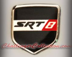 Steering Wheel 3D Decal badge –BLACK / CHROME / RED with SRT 8 - For the 2008-2010  Dodge Challenger