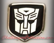 Nose 3D Decal badge –  BLACK / CHROME with Autobot Transformers logo   - For the 2008 and Up  Dodge Challenger